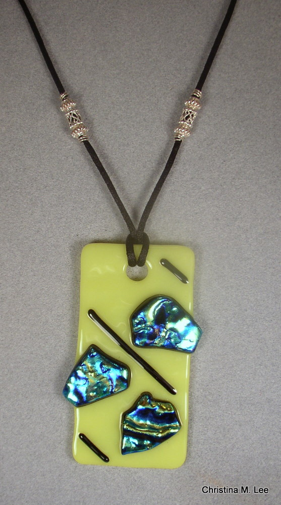 Yellow Rectangle Fused Glass Pendant