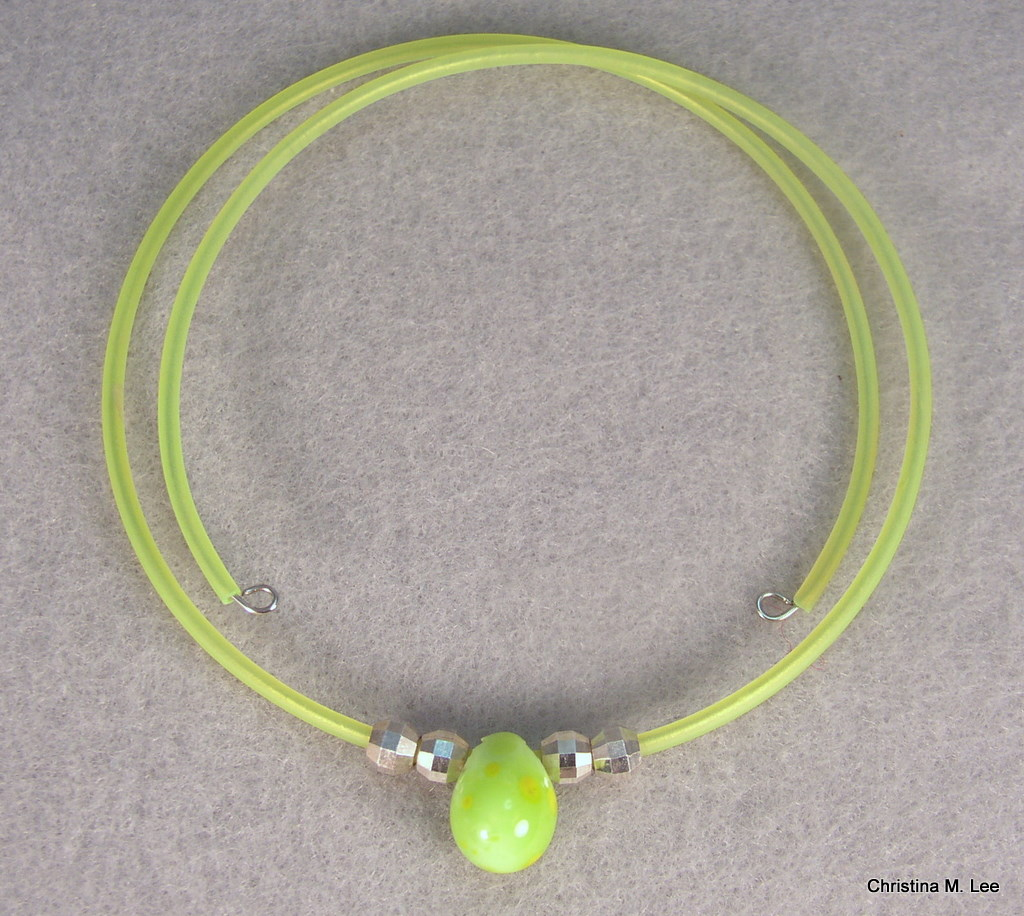 Green-Yellow Drop Bead Memory Wire Choker