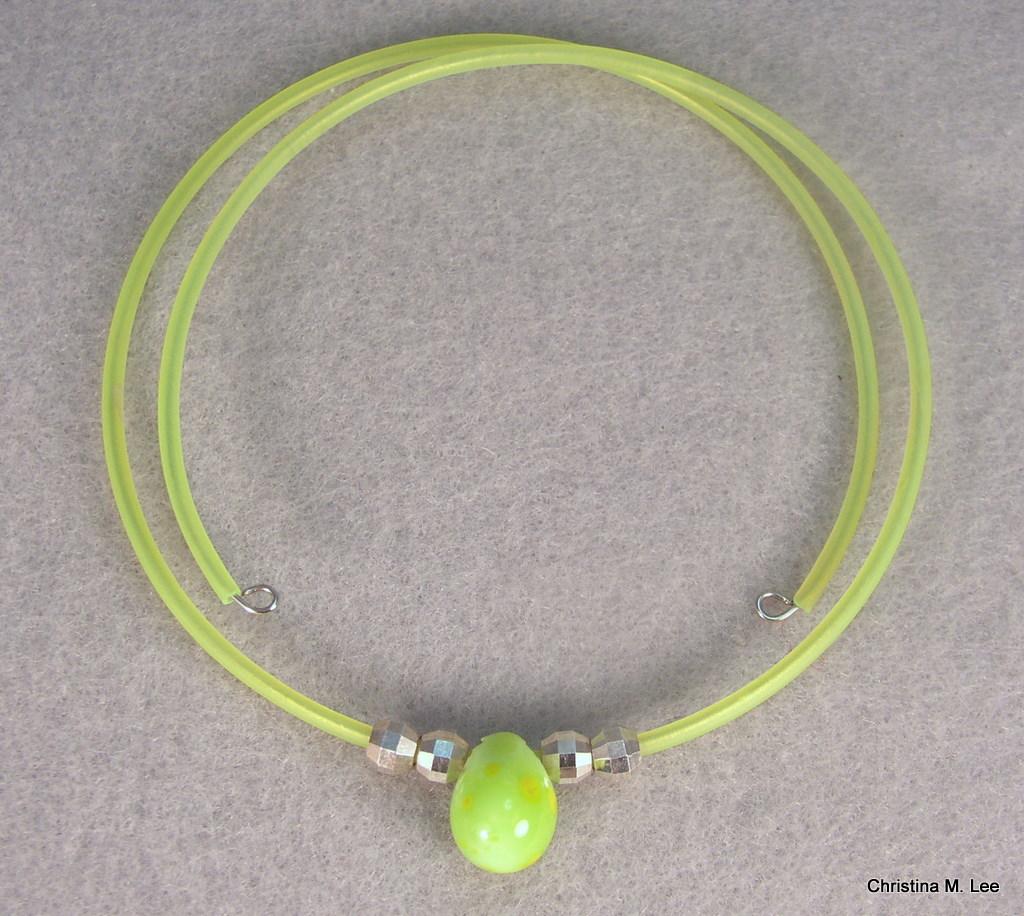 Green-Yellow Drop Bead Memory Wire Choker
