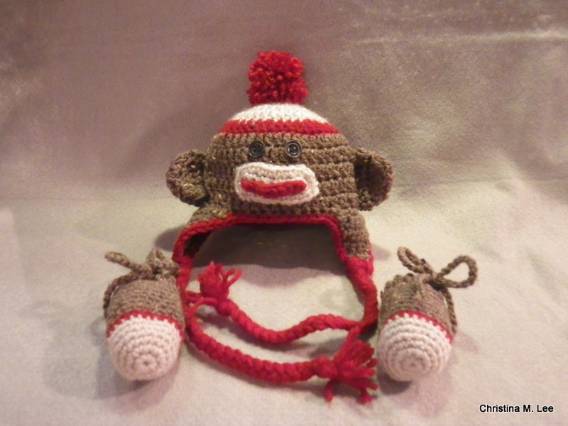 Sock Monkey Hat & Mittens