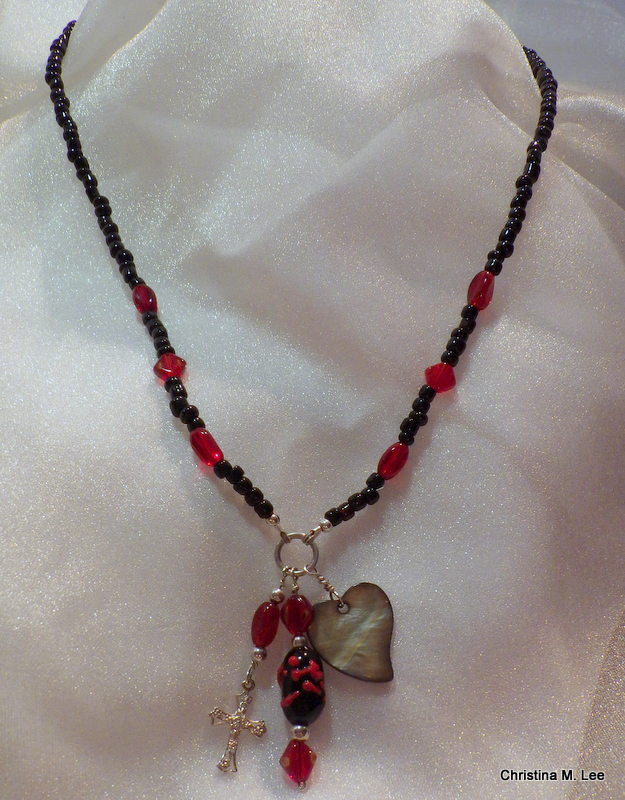 Black & Red Necklace With 3 Charm Dangles