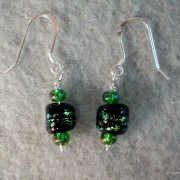 Black & Green Bead Earrings
